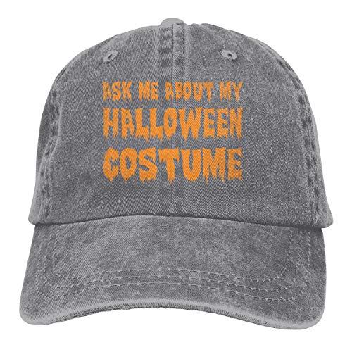 Kkidj Ooii Ask Me About My Halloween Costume Cowboy Cap Unisex Baseball Hat Gray ()