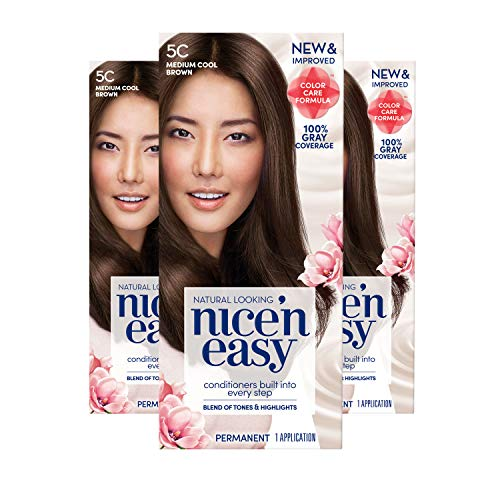 Clairol Nice'N Easy Crème 5C Medium Cool Brown (3 Kits) (Packaging May Vary)