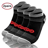 PAPLUS Compression Running Socks for Men & Women(2 Pairs) - Low Cut No Show Athletic Socks for Runners, Plantar Fasciitis & Cycling