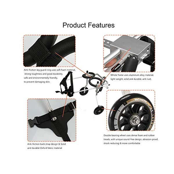 [, Ships from Ca, USA] Anmas Home Adjustable Dog Wheelchair for Small Dogs Hip Height 13″-16″, Wheelchair for Back Legs Rehabilitaion Click on image for further info. 4