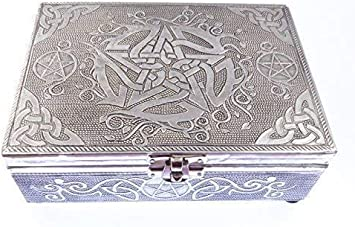 Flat-Ray Aluminio Plateado Metal Pentagrama Cartas Tarot Caja de Recuerdo Regalo 18cm Fieltro Forrado Jewllery: Amazon.es: Bricolaje y herramientas