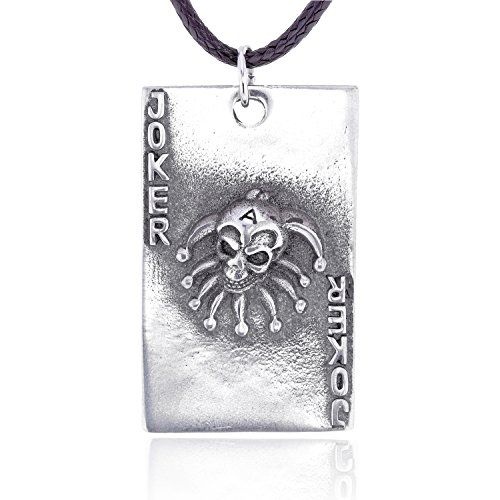 Dan's Jewelers Joker Skull Playing Card Pendant Necklace + Silver Plated Clasp, Fine Pewter (Joker Pendant)