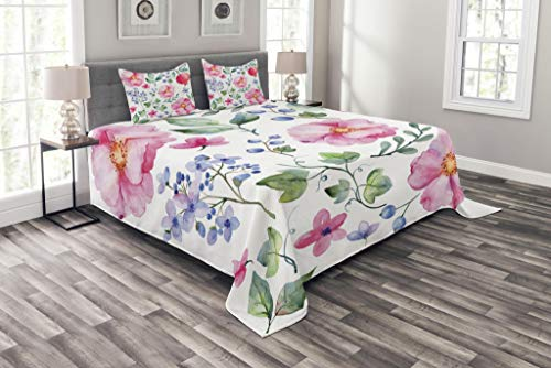 Lunarable Flower Coverlet Set Queen Size, Natural Botanic Garden Plants with Roses Leaves and Pomegranates Romantic Image, Decorative Quilted 3 Piece Bedspread Set with 2 Pillow Shams, Multicolor