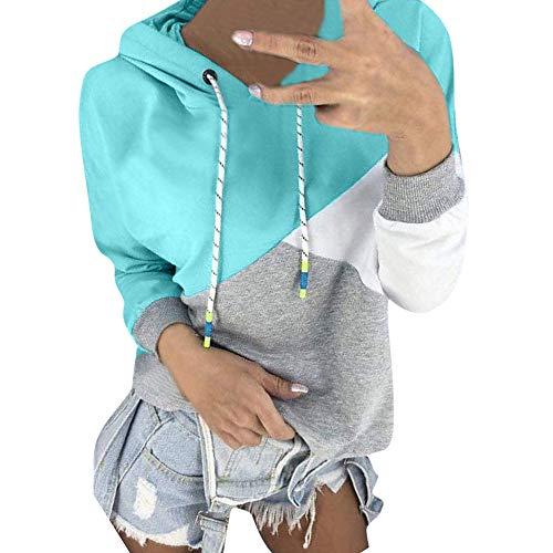 clearance sale!!ZEFOTIM Women Autumn Long Sleeve Patchwork Hoodie Hooded Sweatshirt Pullover Tops Blouse (US-10/CN-S,Blue)