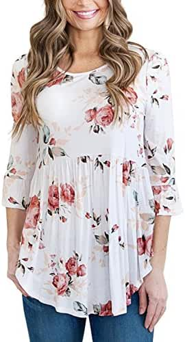 Alvaq Women 3 4 Ruffle Detailed Sleeve Floral Blouses (S-XXL ,4 Colors)