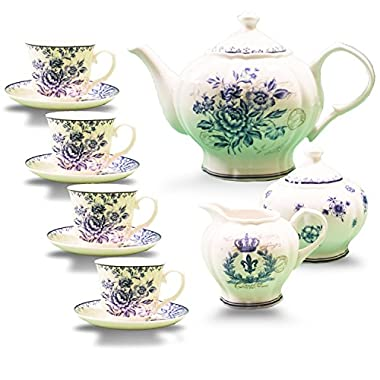 11-piece China Tea Set (Blue Dream), China Tea Service, Tea Set For Adults, Tea Cups, China Teapot, Tea service, Creamer Pitcher, Cream and Sugar Set, Tea Cups and Saucers, Tea Pot and Tea Cups
