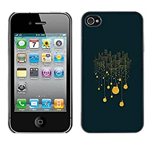 Shell-Star Arte & diseño plástico duro Fundas Cover Cubre Hard Case Cover para Apple iPhone 4 / iPhone 4S / 4S ( Winter Night Yellow City Meaning )