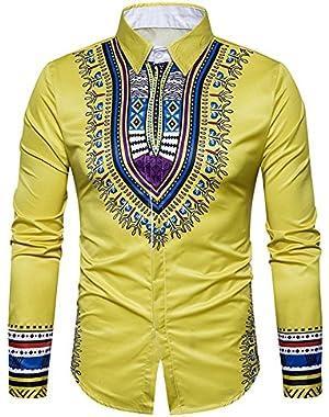 Men's Long Sleeve Tribal Dashiki Floral Top Blouse