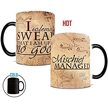 Morphing Mugs Harry Potter Hogwarts Magical Marauder's Map Heat Reveal Ceramic Coffee Mug - 11 Ounce (Parchment Paper Reveal)