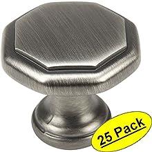"Cosmas 5181AS Antique Silver Cabinet Hardware Octagon Knob - 1-1/4"" Diameter - 25 Pack"