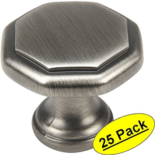 Base Hickory Cabinet (Cosmas 5181AS Antique Silver Cabinet Hardware Octagon Knob - 1-1/4
