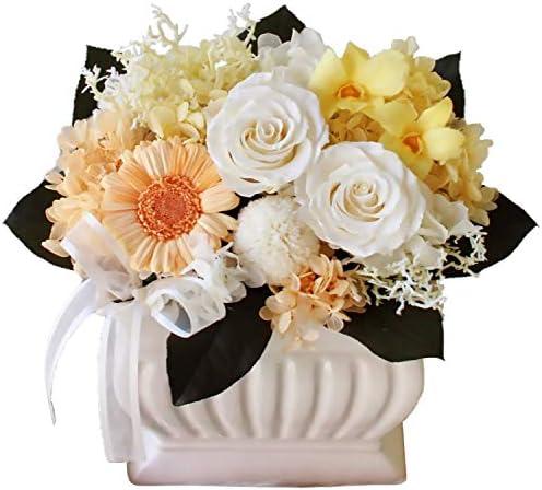 プリザーブドフラワー (仏花/いろは/イエロー L) お供え 花 [ お悔み用 お彼岸 お盆 ] アレンジ ラッピング付き