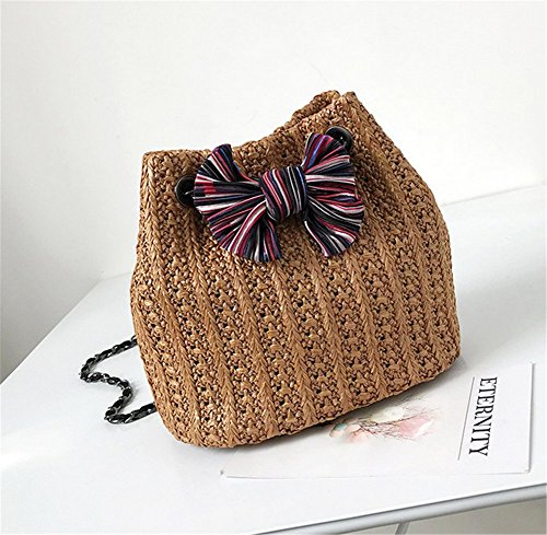 Rrock Fashion Women's Messenger Bag Hand Bag Bucket Straw Chain Woven Brown Portable Shoulder Bag Color Three Bow Bag Bag rrCqwp