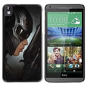 GOODTHINGS Funda Imagen Diseño Carcasa Tapa Trasera Negro Cover Skin Case para HTC DESIRE 816 - bate de la mujer del arte héroe villano arma negro
