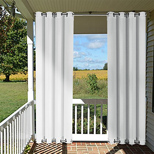 Greyish White Indoor Outdoor Curtain 108 - NICETOWN Home Fashion Thermal Insulated Mildew Resistant Room Darkening Outdoor Curtain, Wind Resistant Drape for Porch (1 Pack,52