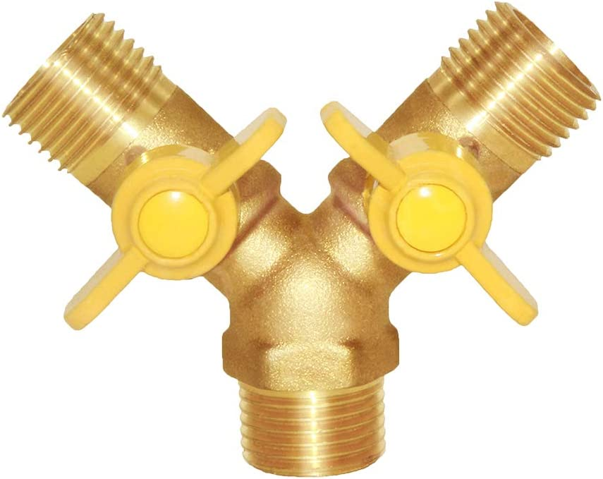 "Joywayus 1/2"" Male Brass Garden Irrigation 3 Way Union Intersection/Split Shut Off Ball Valve Fitting"