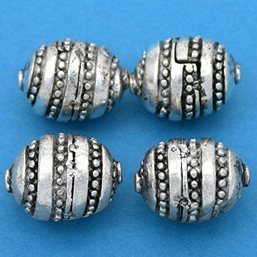 Bali Oval Barrel Beads (18g Bali Oval Barrel Beads Antq Silver Plated Approx 4)