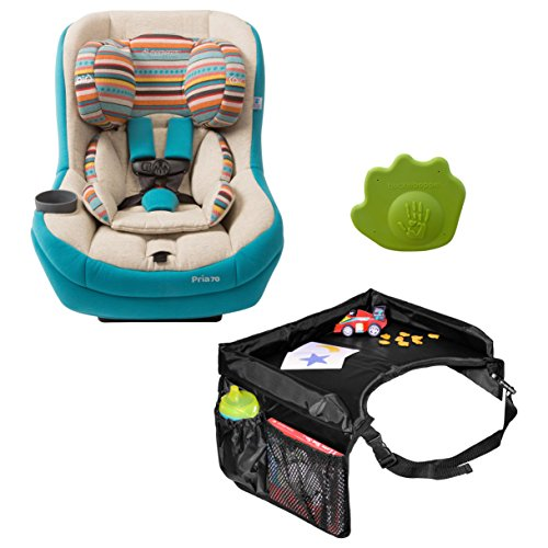 Maxi Cosi Pria 70 Convertible Car Seat in Bohemian Blue with Star Kids Snack & Play Travel Tray and Seat Belt Buckle Release Aid