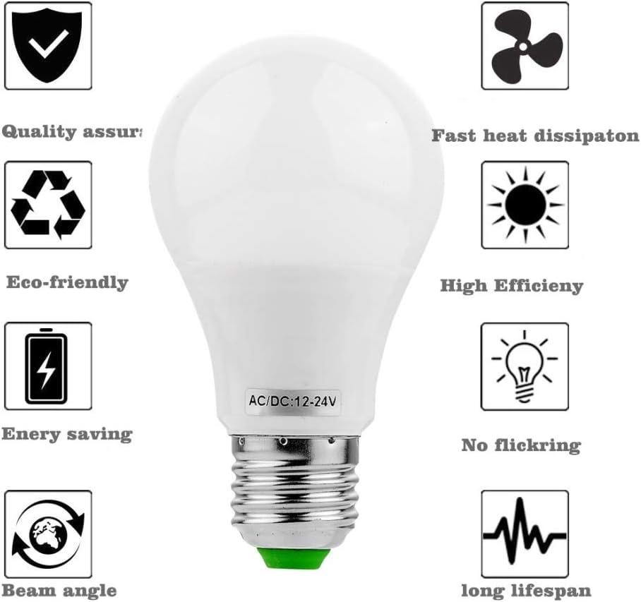 YJXUSHYQ LED Strip Light 6PCS E27 5W AC DC 12-24V 10LEDs 5730SMD LED Bulb Color : Cold White