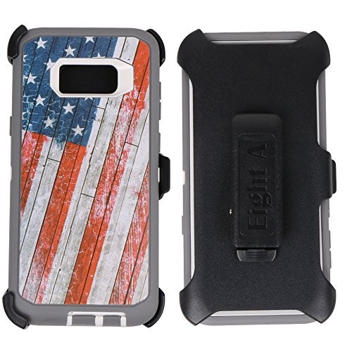 Samsung Galaxy S8+ Case-Heavy Duty Full Body Protective Rugged Holster w/ Belt Clip,Shock Resistant Case Cover for Galaxy S8 Plus (USA-Flag-Camo)
