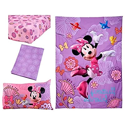 4 Piece Kids Girls Purple Pink Minnie Mouse Toddler Bed Set Yellow