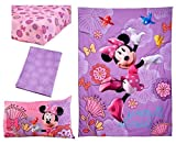 4 Piece Kids Girls Purple Pink Minnie Mouse Toddler Bed Set, Yellow Blue Disney Themed Bedding Birds Bow Tie Comforter Floral Motif Pattern Sheets Fitted Sheet Bedroom Children Bed Child, Polyester