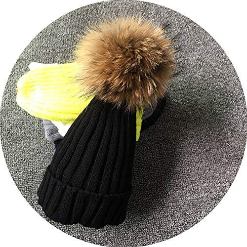 Secret-shop Female Fur Pom Poms hat Winter Hat for Women Girl 's Hat Knitted Beanies Cap Hat,Black with Fur,Kid -