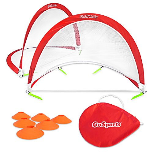GoSports Portable Pop-Up Soccer Goal (Set of 2), Red/White, (Goal Sporting Goods Nylon Football)