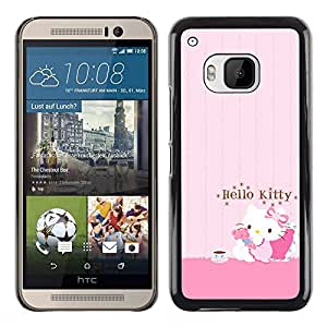 ROKK CASES / HTC One M9 / PINK HELLO CAT CUTE / Delgado Negro Plástico caso cubierta Shell Armor Funda Case Cover