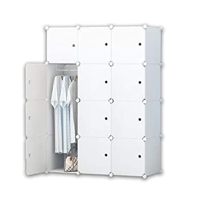 Cube Foldable Organiser Clothes Cabinet Saving Toys Storage for Clothes 20 Cubes Books Cube Wardrobe Organizer Closet Portable Storage Bedroom Meerveil Armoire Cube Shoes