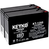 Razor Scooter Battery 12V 8Ah Fresh & Real 8Amp AGM/SLA Rechargeable Replacement Designed for Scooter - Genuine KEYKO - F2 Terminal W/F1 Adapter - 2 Pack