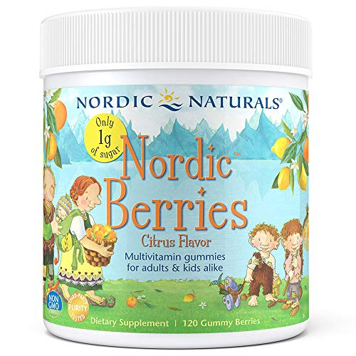Natural Berry - Nordic Naturals Reduced Sugar Nordic Berries - Chewable Gummy Multivitamin, Essential Vitamins and Minerals, No Artificial Coloring or Flavoring, Citrus Flavor, 120 Count