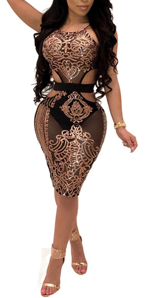 Rela Bota Women's Sexy Halter Sleeveless See Through Sequin Mesh Cut-Out Bodycon Party Dress Large Rose Gold