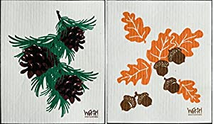 Wet-It Swedish Treasures Dishcloths Set of 2 (Acorns and Pinecones)