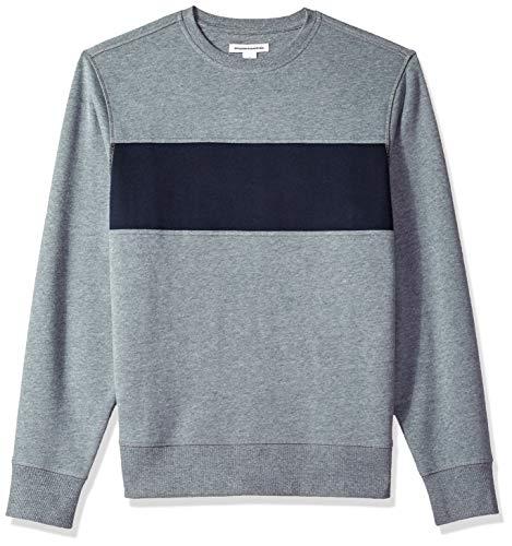 Fleece Crewneck Pullover - Amazon Essentials Men's Crewneck Fleece Chest Stripe Sweatshirt, Light Gray Heather/Navy, Medium