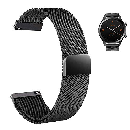 atch Man Smart Watch Band,Aemus Stainless Steel Mesh Milanese Loop Magnetic Watch Band Easy to Adjust, for Ticwatch C2 Onyx/Black/Ticwatch 2 / S/E Smartwatch (Black) ()
