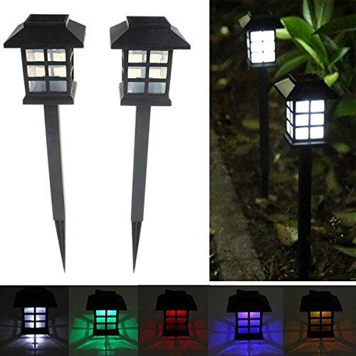 Solar Oriental Light (KAMOLTECH 2pcs Garden Solar Oriental LED Lamp Outdoor Yard Lawn Decorative Light (Color)