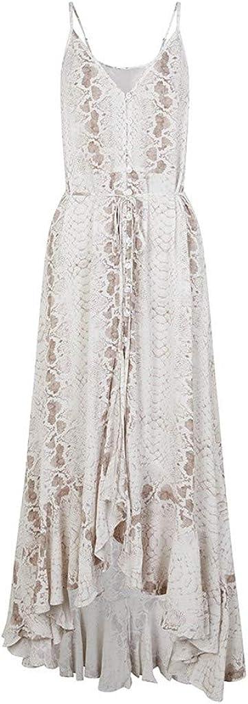 Gergeos Women Maxi Dresses Fashion Snake Print V Neck Button Summer Sleeveless Cami Dress