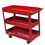 vidaXL Rolling 3 Tray Utility Cart Dolly 220lbs Storage Shelves Workshop Garage Tool