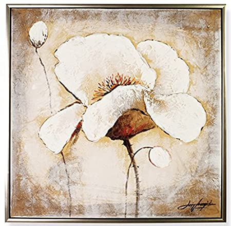 Luxus Pur UG Oil with a beautiful white flower 80 x 80 cm Canvas ...