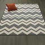 Ottomanson Studio Collection Chevron Waves Design Area Rug, 5'0″ X 6'0″, Grey