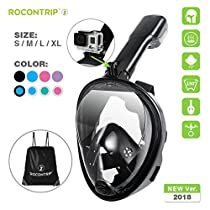 Rocontrip Snorkel Mask Full Face, Panoramic 180°View Design, Anti-Fogging Anti-Leak with Adjustable Head Straps with Longer Snorkeling Tube for Man WomanAdult Youth Kid(Pink, S/M)