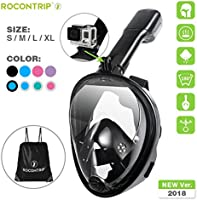 Rocontrip Snorkel Mask Full Face, Panoramic 180°View Design, Anti-Fogging Anti-Leak with Adjustable Head Straps with Longer Snorkeling Tube for Man Woman Adult Youth Kid(Pink, S/M)