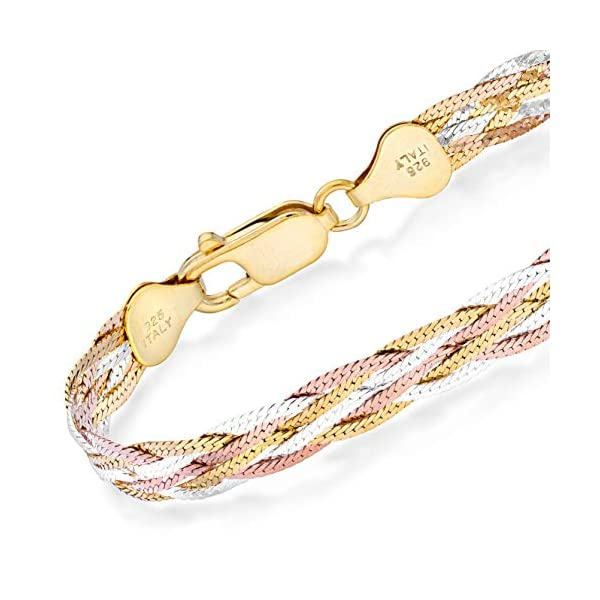 Miabella Tri-Color 18K Gold Over 925 Sterling Silver Italian 6-Strand Diamond-Cut 7mm Braided Herringbone Chain Bracelet for Women Teen Girls 6.5, 7.25, 8 Inch 925 Italy