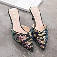 ad56ad81867a1 Spring And Summer New Sequins Shoes Small Fresh 6CM With Sandals And ...