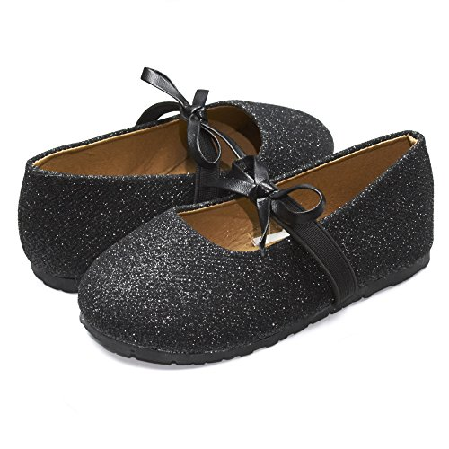 Sara Z Kids Toddlers Girls Glitter Ballet Flat Slip On Shoes With Elastic Strap and Bow Black Size 7/8