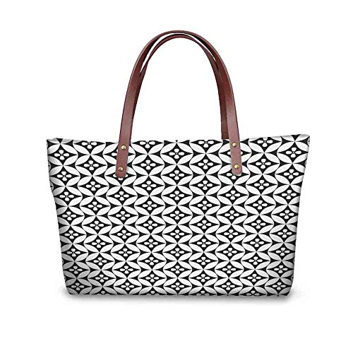Custom Handbag Tote Shopping Bags Black and White,Mosaic of Floral Circles Old Fashioned Geometric Pattern Optical Effect,Black White Printing Tote Yoga Size:19.2