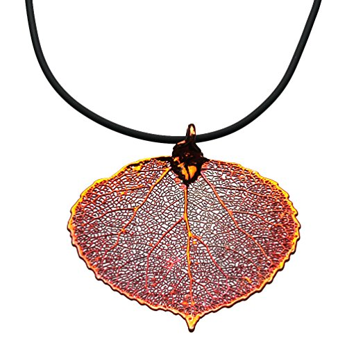 - Joyful Creations Irridescent Copper-Plated Aspen Leaf Pendant Rubber Cord Necklace, 20