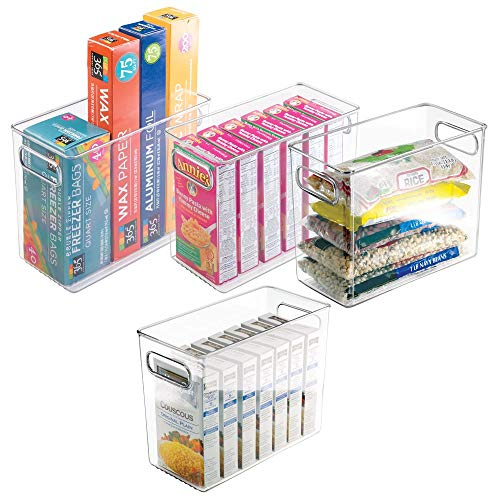 "mDesign Tall Plastic Kitchen Pantry Cabinet, Refrigerator or Freezer Food Storage Bin with Handles - Organizer for Fruit, Yogurt, Snacks, Pasta - Food Safe, BPA Free - 10"" Long, 4 Pack - Clear"