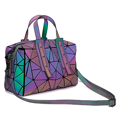 Harlermoon Geometric Luminous Holographic Purses and Handbags Flash Reflactive Tote for Women ... (Boston handbag) Boston Tote Bag Purse